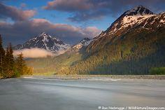 Resurrection River flowing through Chugach National Forest, Mount Benson is in the background, near Seward, Alaska