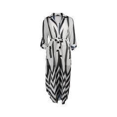 Lapel Collar Vertical Stripe Dress ($24) ❤ liked on Polyvore featuring dresses, collared dresses and vertical stripe dress