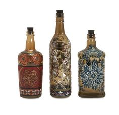 """Reclaimed Hand-painted Bottles - Set of 3 9-10-12""""""""h x 3.75-3-2.75""""""""d"""