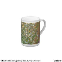 """""""Meadow Flowers"""", pastel painting, white daisies Tea Cup floral, #art, #white, #green, #painting, #flower, #flowers, #meadow, #daisy, #daisies, #summer, #flourishing, #bloom, #ocher, #pastel, #blooming, #blossom, #sweet-pea, #knautia, #wildflower, #wildflowers, #plants, #bouquet, #field, #garden, #ochre, #mug, #cup, #teacup, #porcelain"""