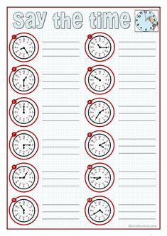 SAY THE TIME worksheet - Free ESL printable worksheets made by teachers