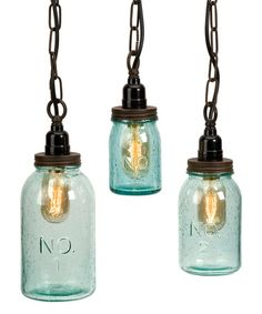 This Lexington Mason Jar Pendant Indoor Hanging Light Set is perfect! #zulilyfinds