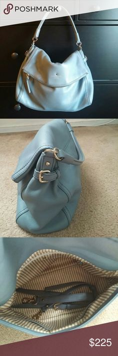 Kate Spade Little Minka *Excellent condition. Like new. Only used twice *Beautiful light blue color  *Soft pebbled leather  *Tan/cream striped interior *Gold hardware  *Removable cross-body adjustable strap  *Protective metal foot base *Versatile color and style *Dust bag included Kate Spade  Bags Satchels