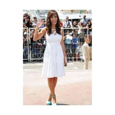 Celebrity Dress - White Satin Chiffon Knee-length Spaghetti Straps Appliques Celebrity Dress (330 AUD) found on Polyvore