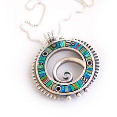 Iridescent Mosaic inlay Silver Spiral Circle❤by LizardsJewelry