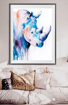 Rhino watercolor painting print Rhinoceros art safari by SlaviART