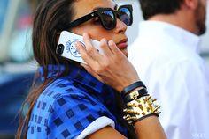 #look #fashion #closeup #check #Louis Vitton #bracelet #studs #spikes #gold #bleu #leather #glasses
