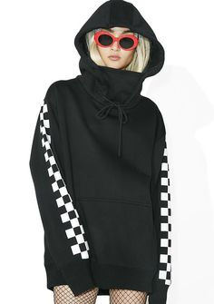 Current Mood Checkmate Masked Hoodie Dress make yer move, babe...This sikk hoodie features a suuuper plush 'N ultra slouchy black construction wit fleece-y interior, dropped shoulders, drawstring funnel neck that rises over ya filthy mouth, thick ribbed cuffs with thumbhole cutout, and checkerboard graphics down both sleeves.