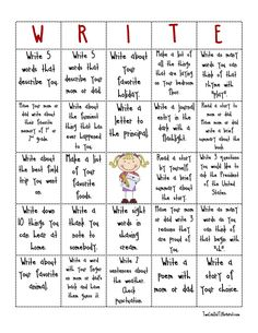 Write bingo... something to make writing in journals more interesting? or picking what they do for homework?