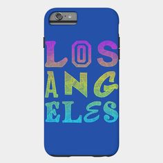 Los Angeles iPhone Case by Fimbis /// Also available as a T Shirt, Art Print, Phone Case, Tank Top, Crew Neck, Pullover, Zip, and Sticker. /// #LA #colourful #colorful #iphone6 #iphone6s #gradient #pink #yellow #cyan