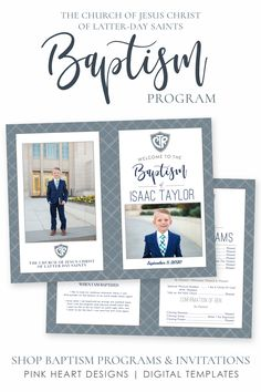 Save time preparing for your son's baptism with this easy to edit baptism program! Your information and photos can be added by you! No software needed, download and print today!  Click to DEMO this baptism program and a matching invitation now!  #baptismprogam #LDSbaptism #boybaptism #LDSprintable #ldsbaptismprogram #LDSbaptisminvitation #printableprogram #editablebaptism #boybaptismprogram Safari Invitations, Baptism Invitations, Baptism Party, Boy Baptism, Lds Baptism Program, Baptism Pictures, Birth Announcement Template, Printable Designs, Printables