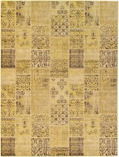 Yellow Patchwork Area Rug Living Room