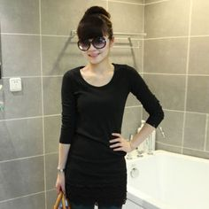 Casual Trendy Women's Long Sleeve Round Collar Autumn Slim Dress