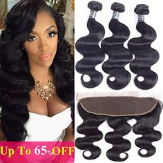 Brazilian Virgin Human Hair Extensions Brazilian Body Wave 3 Bundles with Lace Frontal Three Part Natural Color Weft16 18 2016 Frontal >>> You can get additional details at the image link-affiliate link. #BeautySalonEquipment