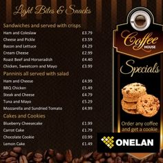 A cafe / coffee shop style digital menu board Photoshop PSD ...