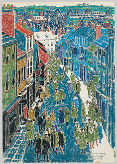 David Brown Milne (Canadian, Ripon High Street, Oil on canvas. Canadian Painters, Canadian Artists, David Milne, Art Gallery Of Ontario, Snow Scenes, Naive Art, Art Techniques, City Photo, Art Photography