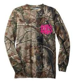 Long Sleeve Camo Monogrammed Shirt with Pocket on Etsy, $29.95