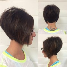 Textured #bob with a soft hairline using the #straightedgerazor. #alinebob #haircut #shorthair #volume #shorthairobsession #behindthechair #azstylist #gilbertsalon #emilyandersonstyling