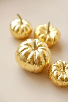 Autumn Splendor....How To Gold-Leaf a Pumpkin - perfect to transform Halloween mini pumpkins into something for Thanksgiving