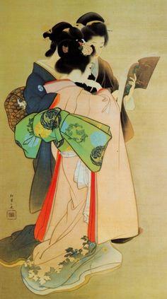 """Three Women Reading"" by Uemura Shōen - Uemura Shōen - pseudonym for the Japanese painter Uemura Tsune. Watercolor on silk Shōen is primarily known for her bijinga paintings of. Art Geisha, Art Asiatique, Ga In, Art Japonais, Korean Art, Japanese Painting, Japanese Prints, Japan Art, Woodblock Print"