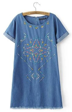 Nerta Blue Denim Embroidery Mini Dress