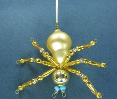 Old Blown Hollow Glass Beads Wired Czech Christmas Decoration Golden Spider 3""