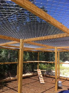 Chain link fence put on top, we added a cool shade tarp that covers the entire top.