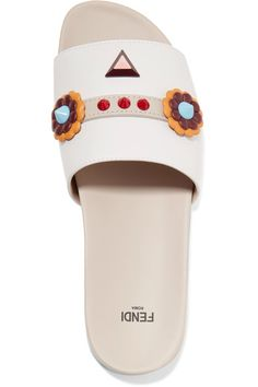 Fendi - Embellished Leather Slides - White - IT37.5