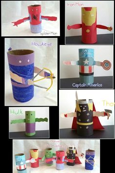 Toilet Paper Roll, Crafts for Kids. Marvel, The Avenger, Hawkeye, Captain America, Hulk, Thor, Iron Man, Spider Man.
