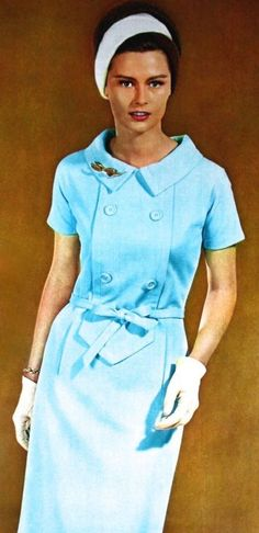 Dress Serge Matta for Maggy Rouff, Marie France September 1963 vintage fashion baby blue pale light dress shift belt structured 60s short sleeve double breasted white headband gloves color photo print ad model magazine