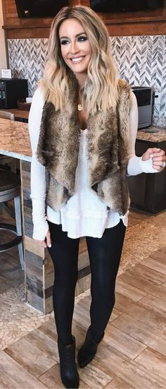 5b509ccedd3 30+ Cute Winter Outfit Ideas To Copy This Season. Winter Vest OutfitsVest  Outfits For WomenFur ...