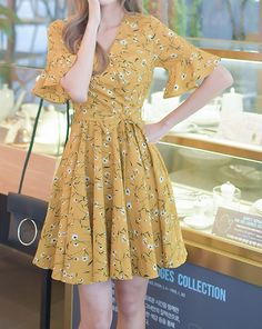 Flouncing Sleeve Floral Sweet Dress _Short Sleeve Dress_DRESSES_Wholesale clothing, Wholesale Clothes Online From China