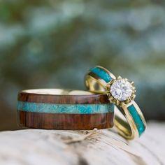 Turquoise Wedding Ring Set, Moissanite Engagement Ring With Wood Band-3635