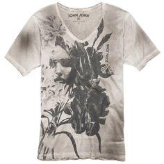 T-shirt de malha de algodão com decote V, estampa frontal e lavagem - John John Mandando muito bem