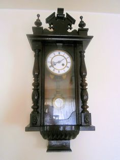 old antique wall pendulum clock functional Alt by VintageMessage, $400.00