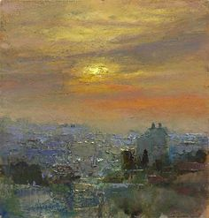 """ANDREW GIFFORD - """"Sunset Over Ramallah"""".Andrew Gifford is now recognised as one of the most innovative landscape painters working today. London Painting, City Painting, Painting Art, Landscape Artwork, City Art, Ciel, Art Oil, Painting Inspiration, New Art"""