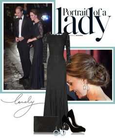 """The Duchess"" in a black Diane von Furstenberg gown with lace sleeves. // by stylebrace on Polyvore"