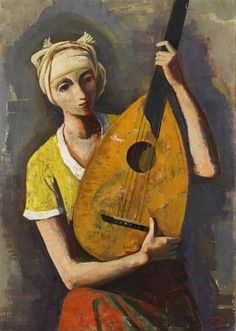 Mädchen mit Laute (1937). Karl Hofer (German,1878-1955). Oil on canvas.