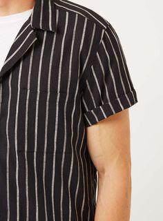 Black and Grey Stripe Linen Mix Short Sleeve Dress Shirt