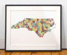 North Carolina typography map, north carolina map art, north carolina art print, north carolina gift, hand drawn state typography series by joebstudio on Etsy https://www.etsy.com/listing/202021197/north-carolina-typography-map-north