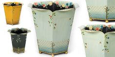 Part of our stunning new 2015 collection. The Fleur waste paper bin is a striking and unique design, decorated in delicate hand-painted flowers!  #Interiors #Decor #InteriorDesign