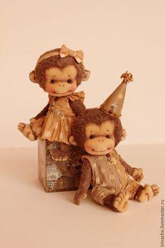 Купить Ронни и Миа - Новый Год, новый год 2016, обезьянка, обезьянка в подарок, обезьянка игрушка