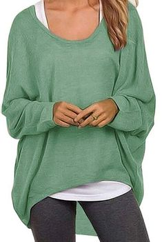 ead83450e2f231 UGET Women s Sweater Casual Oversized Baggy Off-Shoulder Shirts Batwing  Sleeve Pullover Shirts Tops Off