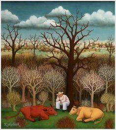 ivan generalic art   Watching over two cows - Ivan Generalic - WikiPaintings.org