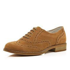 Brown lace up brogues - brogues / loafers - shoes / boots - women