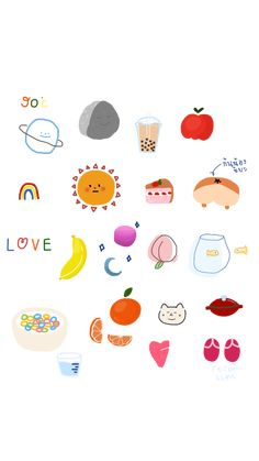 52 best Ideas for wall paper iphone art illustrations summer Printable Stickers, Cute Stickers, Planner Stickers, Kawaii Drawings, Cute Drawings, Note Doodles, Dibujos Cute, Cute Illustration, Art Illustrations