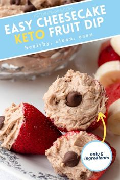 A chocolate peanut butter keto cheesecake fluff that's delicious stuffed in a strawberry, scooped as a dip, or spread on watermelon slices. Sugar Free Peanut Butter Cookies, Sugar Free Carrot Cake, Chocolate Peanut Butter, Cheesecake Fruit Dips, Keto Cheesecake, Cinnamon Sugar Muffins, Keto Birthday Cake, Keto Sauces, Keto Fruit