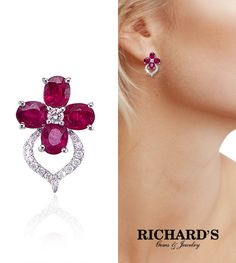 Ruby and Diamond Flower Earrings in 18K White Gold