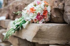 Love this pink, coral and white bouquet. www.brickandwillowphotography.com