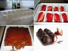 Chocolate-Covered-Strawberries-Made-In-An-Ice-Cube-Tray